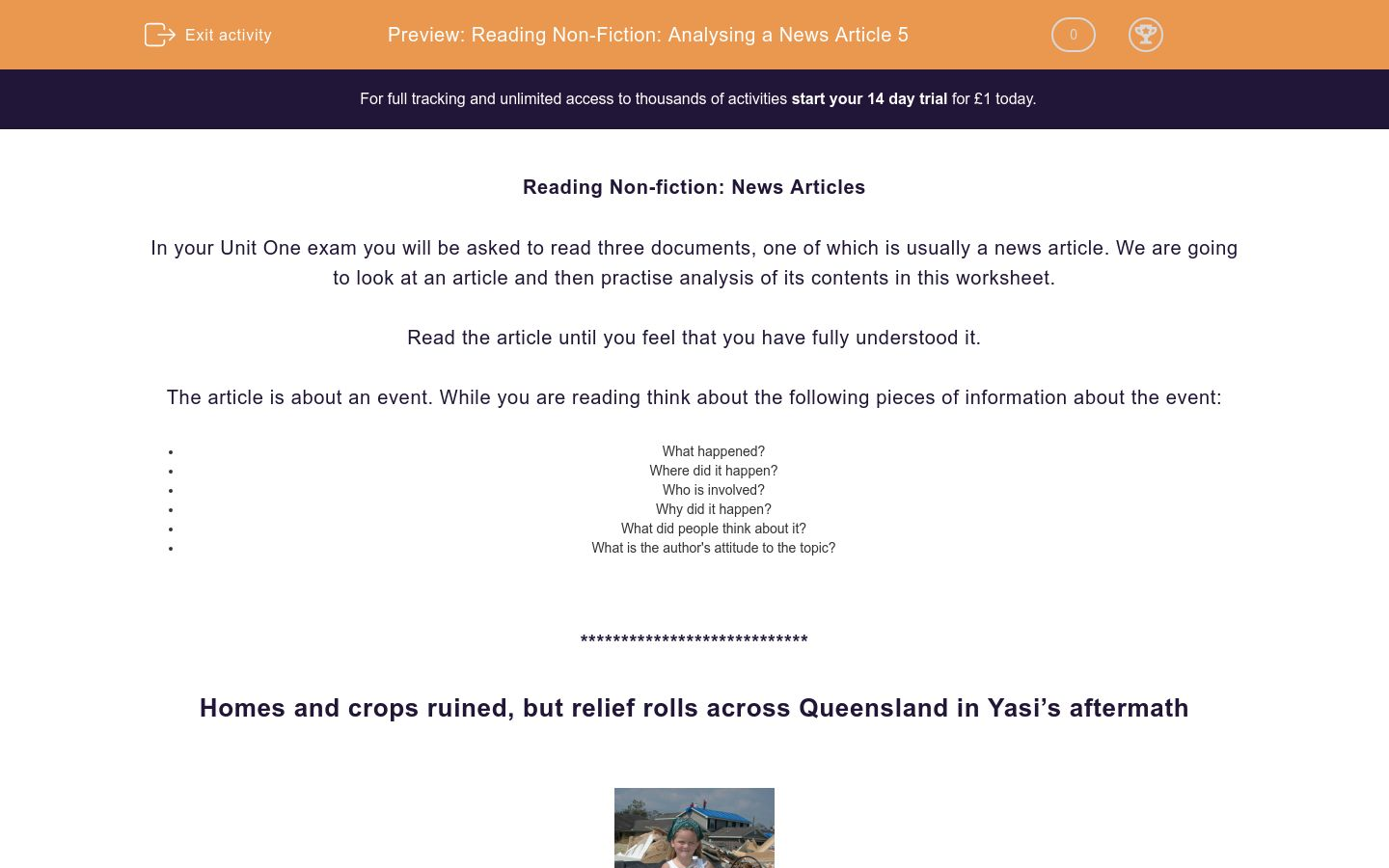 'Reading Non-Fiction: Analysing a News Article 5' worksheet
