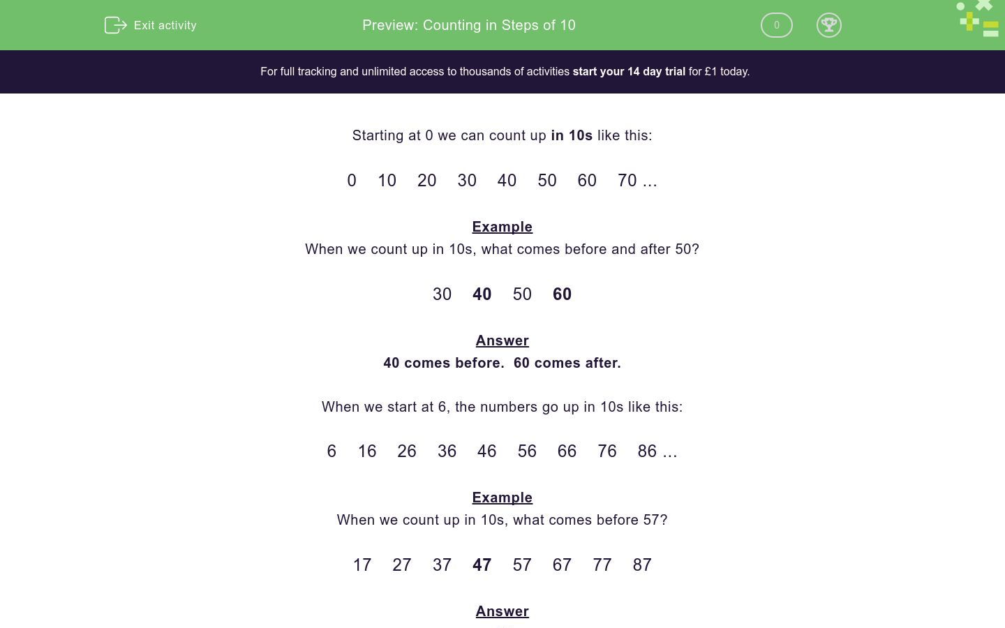 'Counting in Steps of 10' worksheet