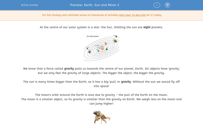 'Earth, Sun and Moon 3' worksheet
