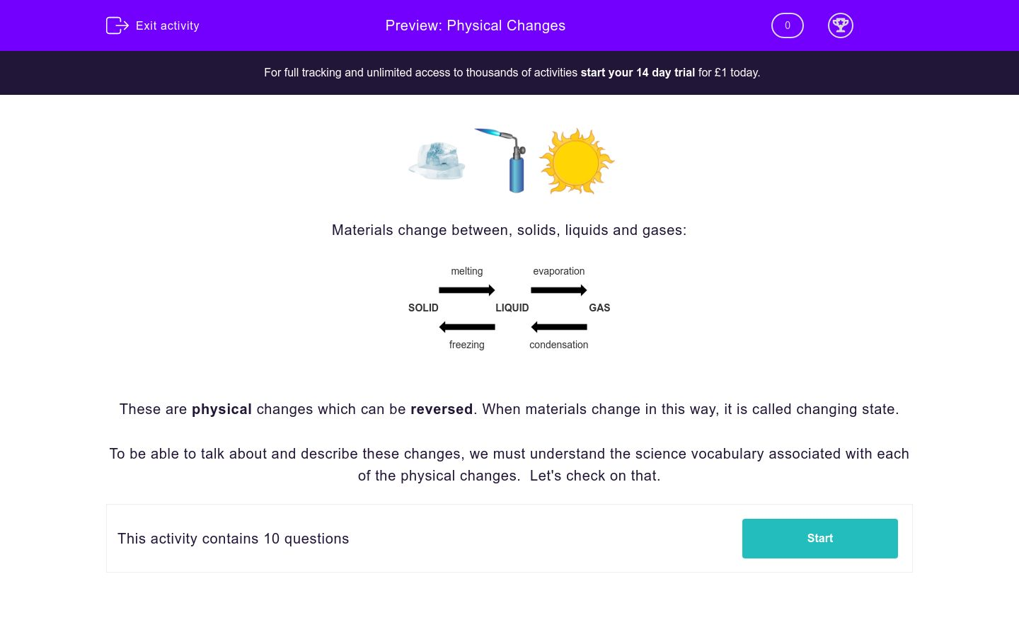 'Physical Changes' worksheet