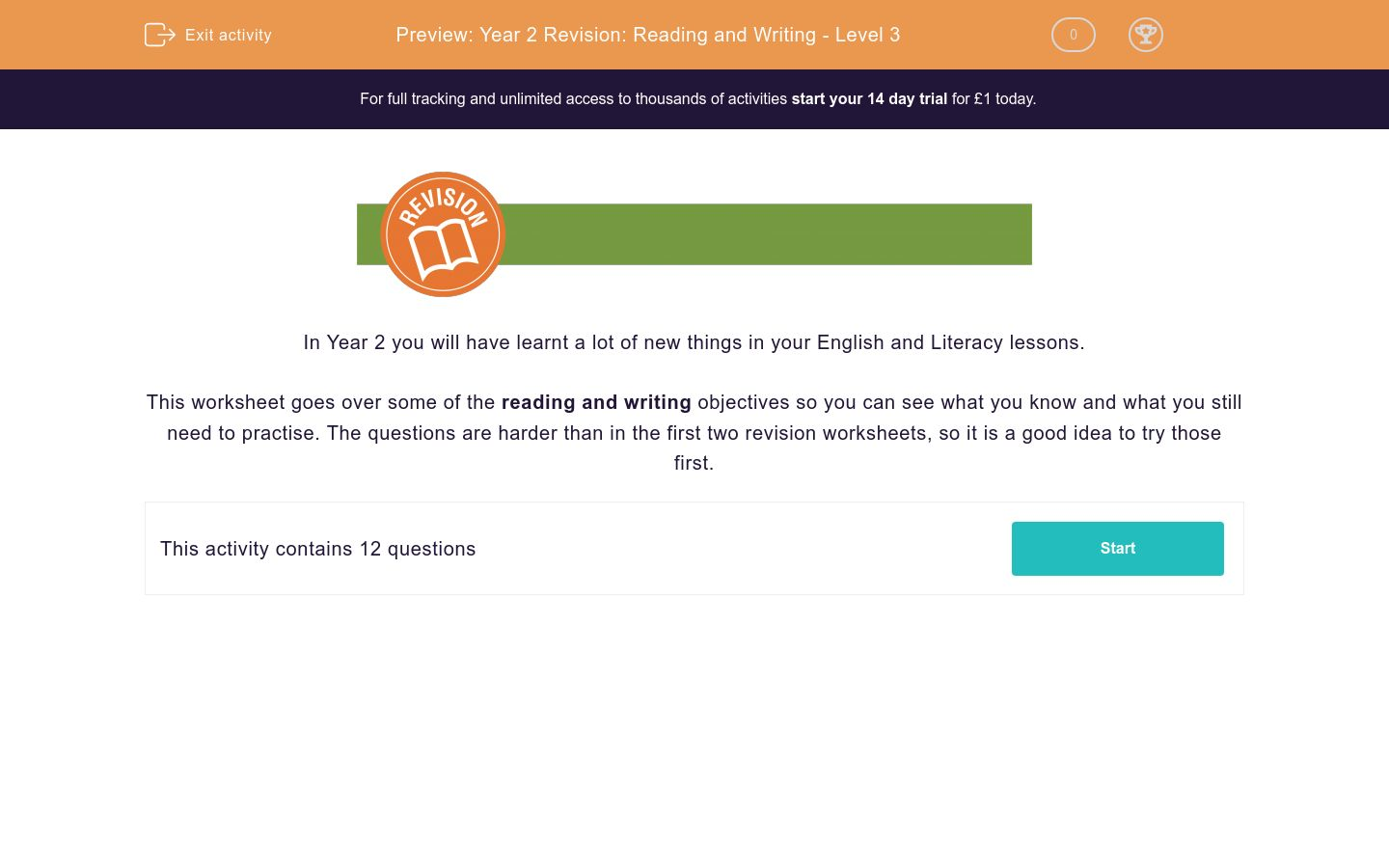 'Year 2 Revision: Reading and Writing - Level 3' worksheet