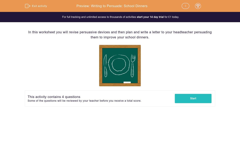 'Writing to Persuade: School Dinners' worksheet