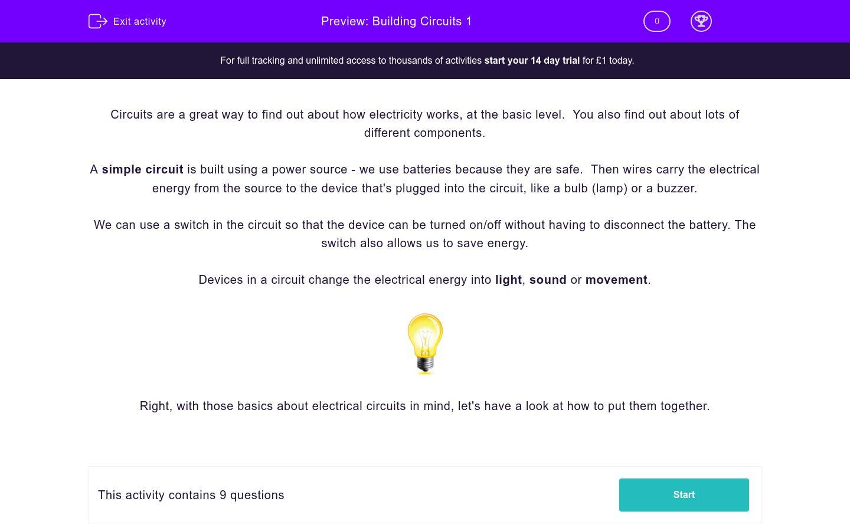 'Building Circuits 1' worksheet