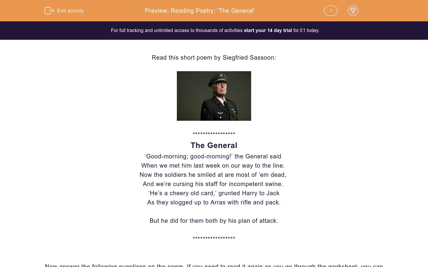 'Reading Poetry: 'The General'' worksheet