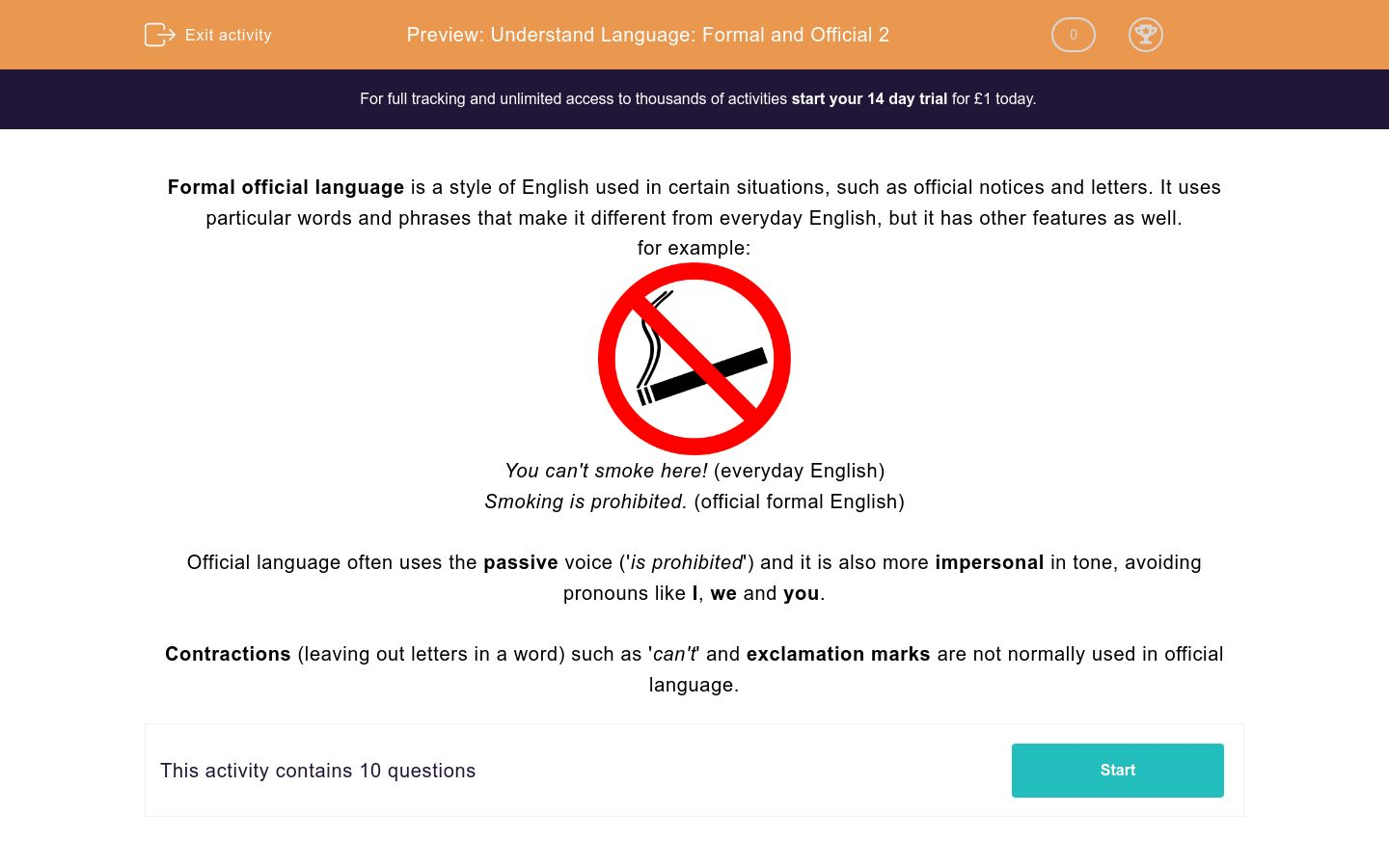 'Understand Language: Formal and Official 2' worksheet