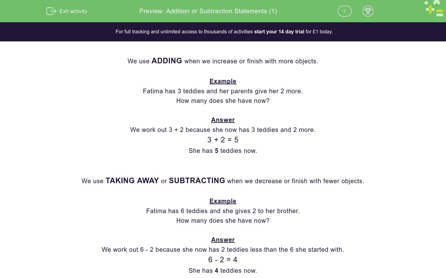 'Addition or Subtraction Statements (1)' worksheet