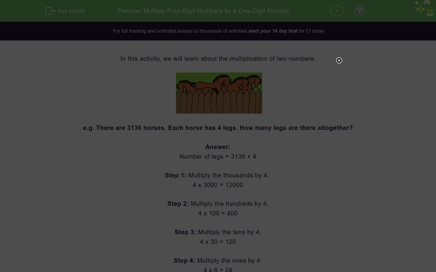 'Multiply Four-Digit Numbers by a One-Digit Number' worksheet