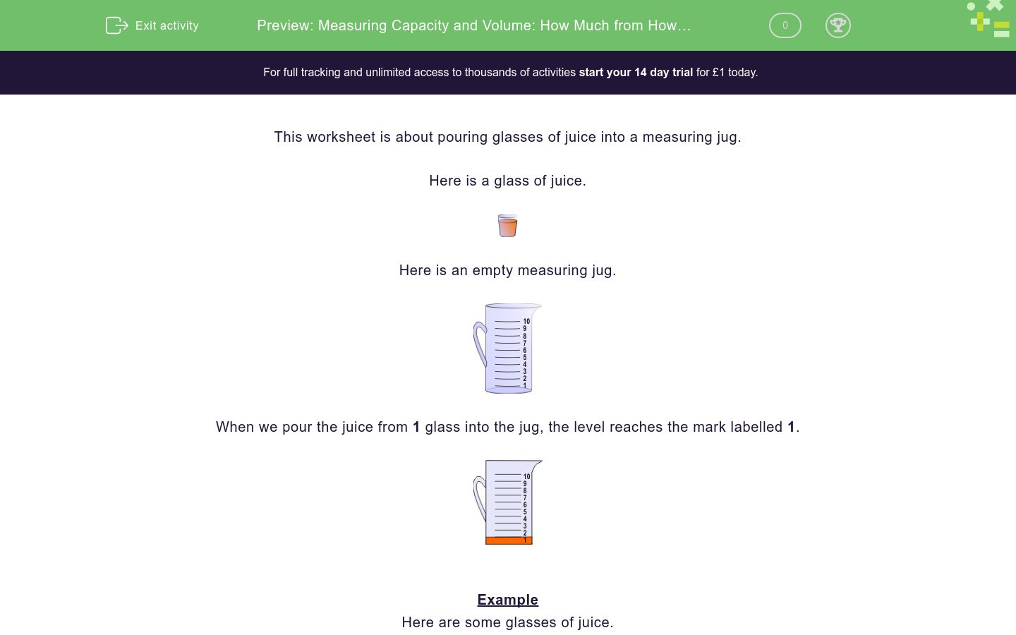 'Measuring Capacity and Volume: How Much from How Many?' worksheet