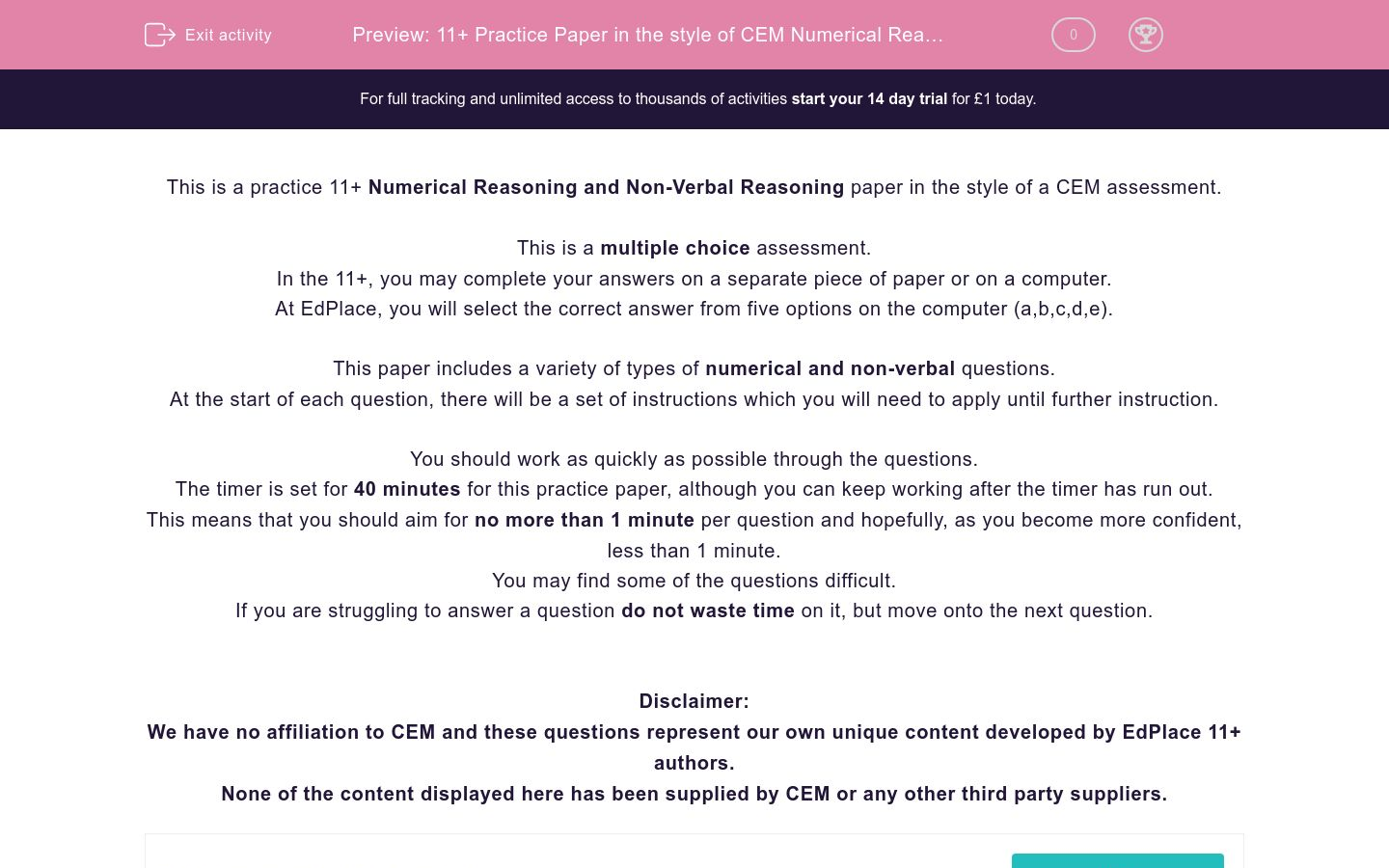 '11+ Practice Paper in the style of CEM Numerical Reasoning and Non Verbal Reasoning' worksheet