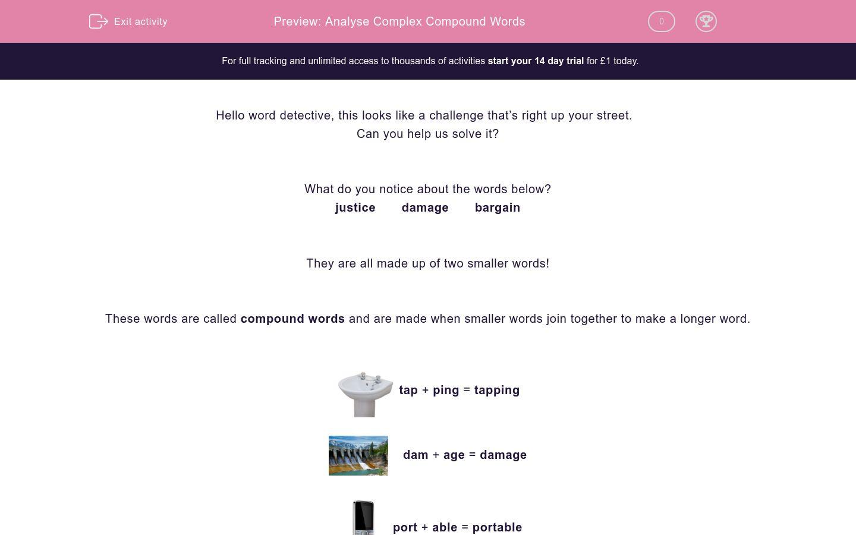 'Analyse Complex Compound Words' worksheet