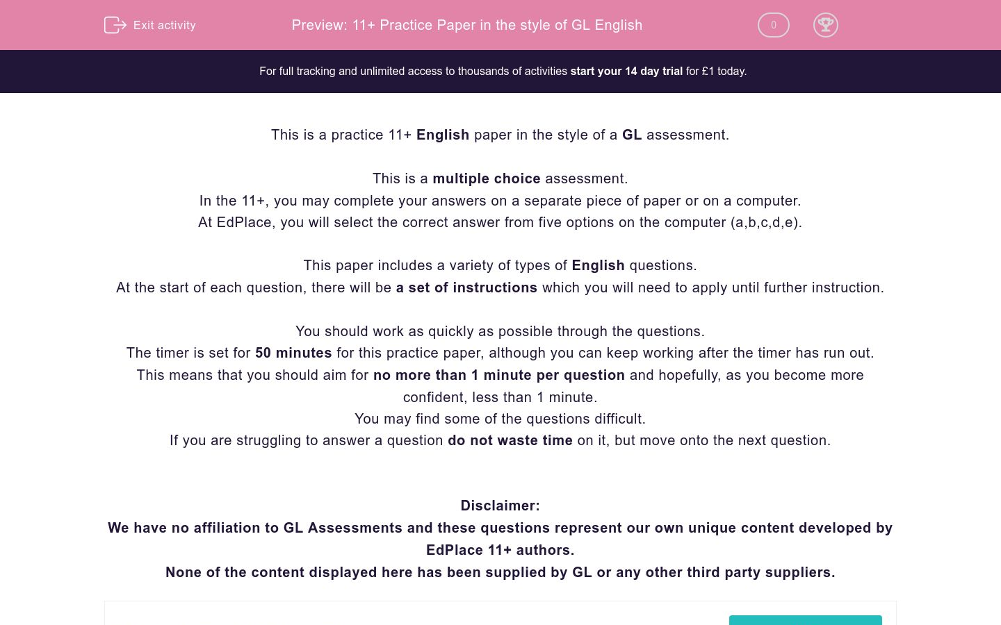 '11+ Practice Paper in the style of GL English ' worksheet