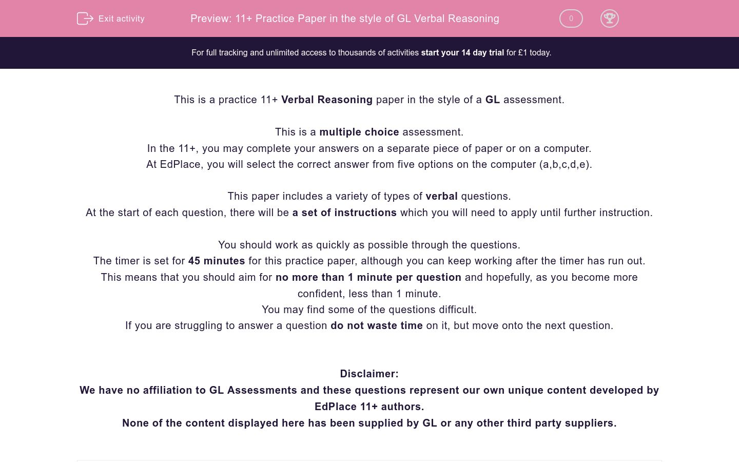 '11+ Practice Paper in the style of GL Verbal Reasoning' worksheet