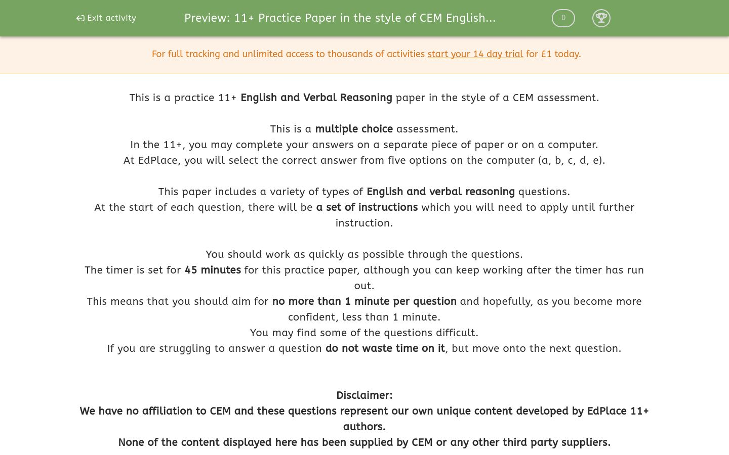 '11+ Practice Paper in the style of CEM English and Verbal Reasoning' worksheet
