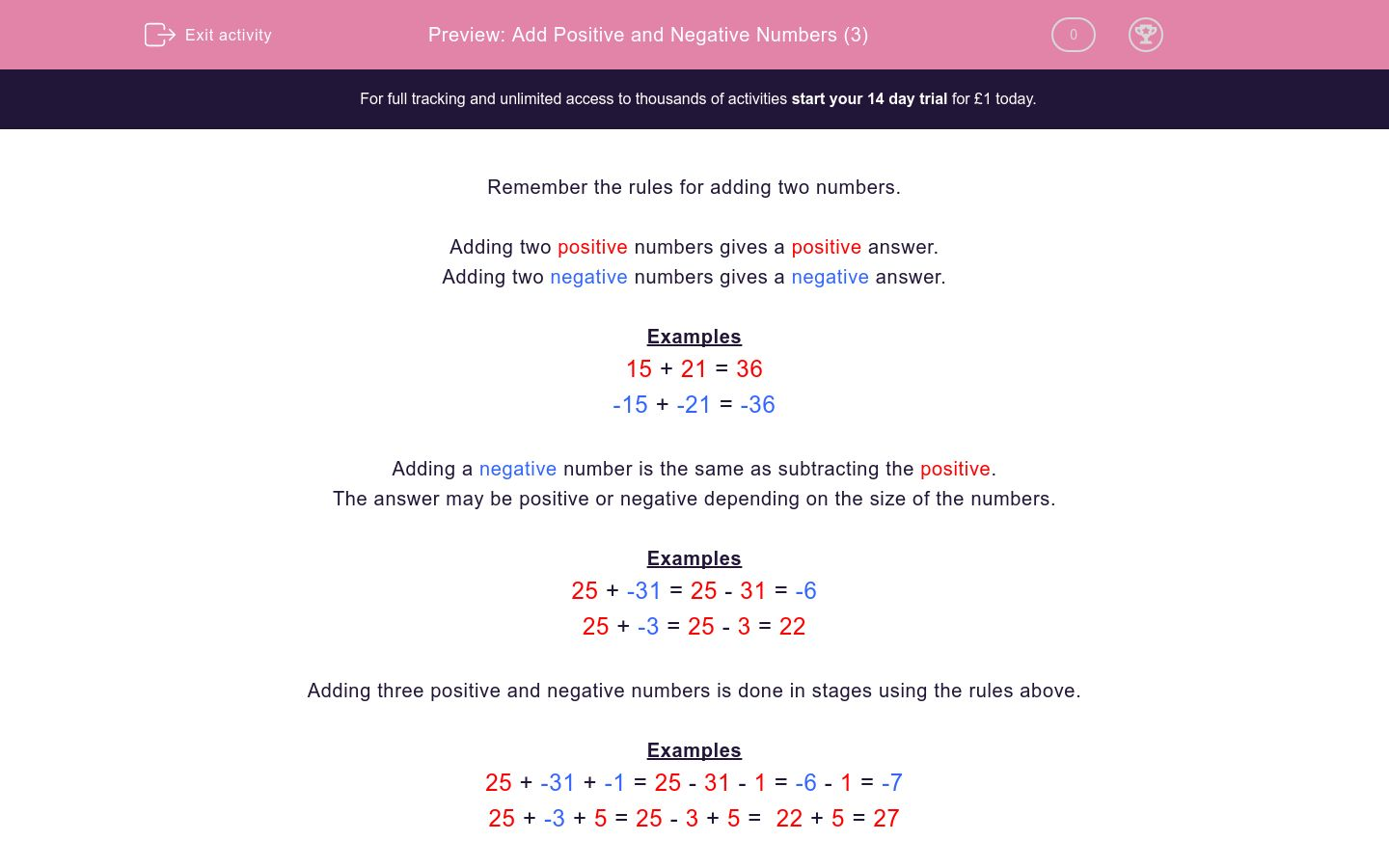 'Add Positive and Negative Numbers (3)' worksheet