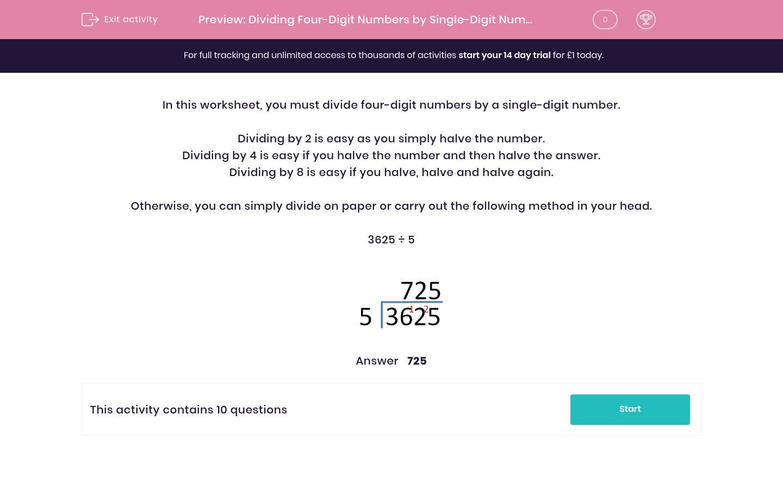 'Dividing Four-Digit Numbers by Single-Digit Numbers (1)' worksheet
