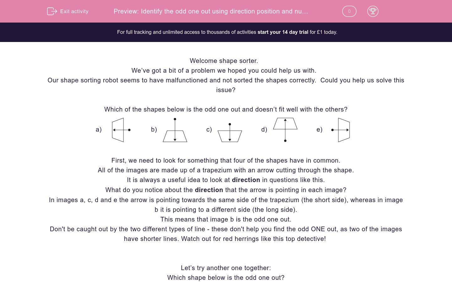 'Identify the odd one out using direction position and number' worksheet