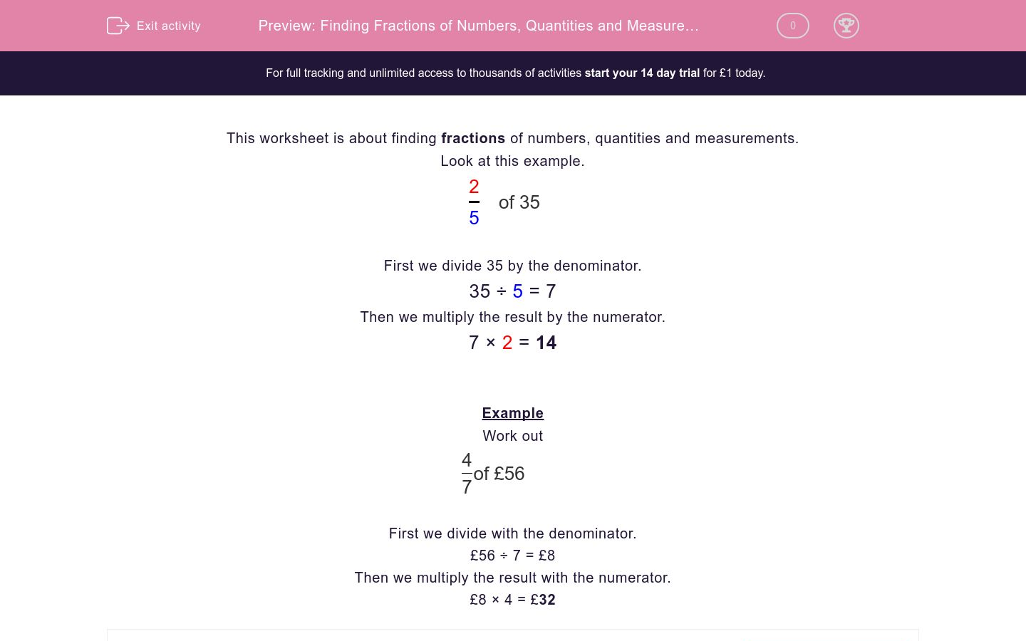 'Finding Fractions of Numbers, Quantities and Measurements' worksheet