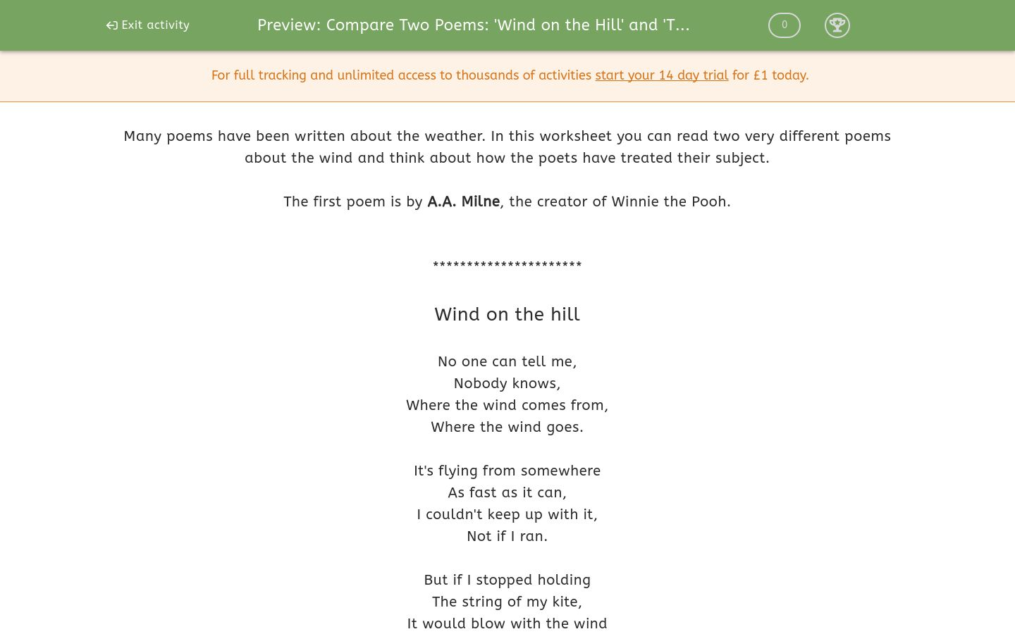 'Compare Two Poems: 'Wind on the Hill' and 'The Wind Begun ...'' worksheet