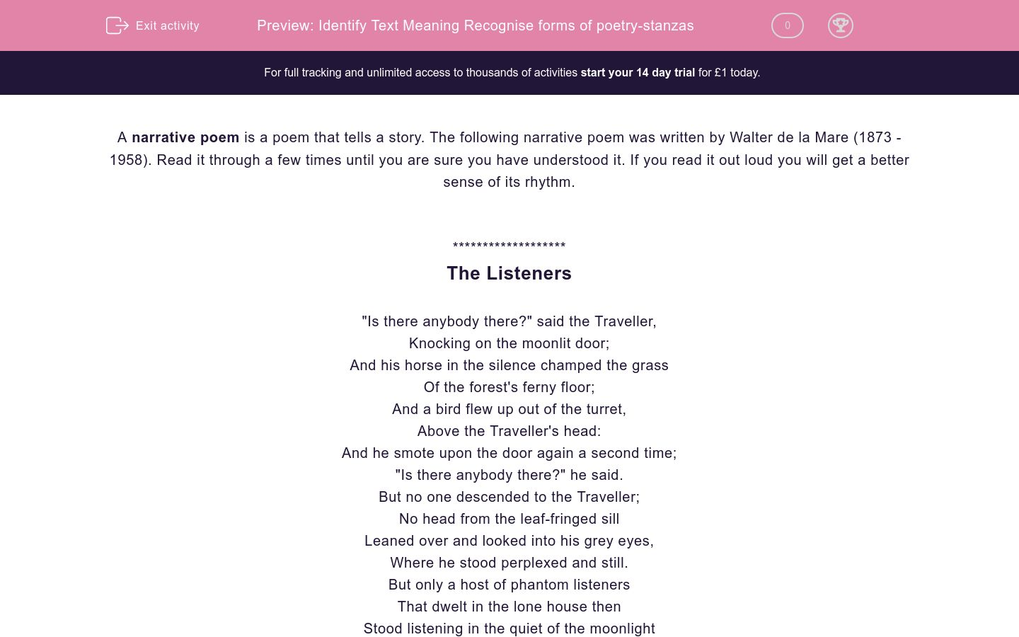 'Identify Text Meaning Recognise forms of poetry-stanzas' worksheet