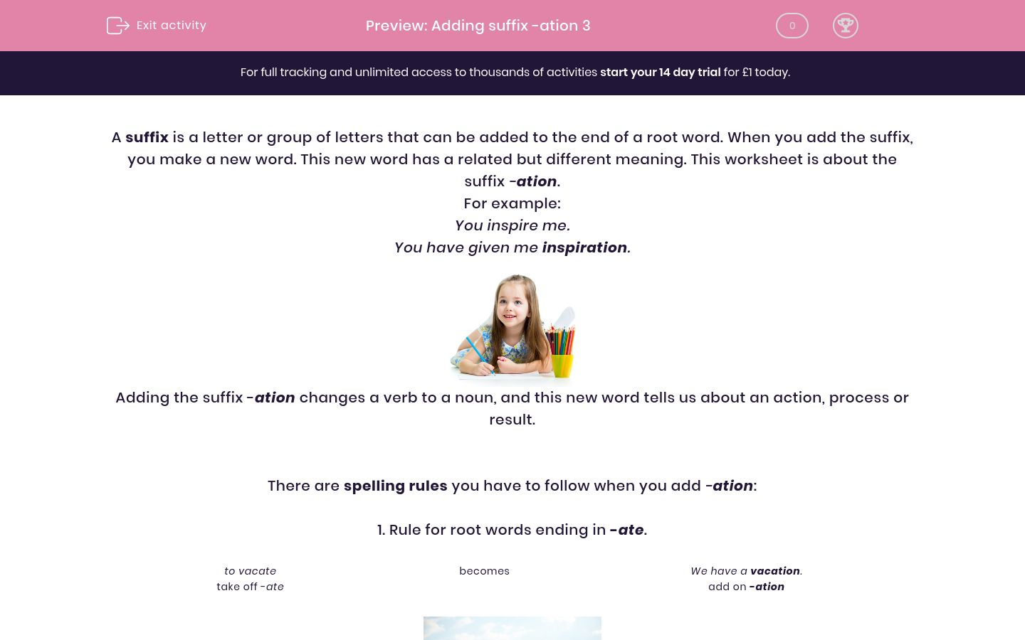 'Adding suffix -ation 3' worksheet