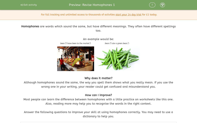 'Revise Homophones 1' worksheet