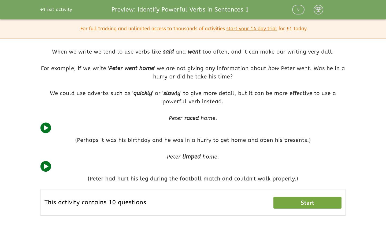 'Identify Powerful Verbs in Sentences 1' worksheet