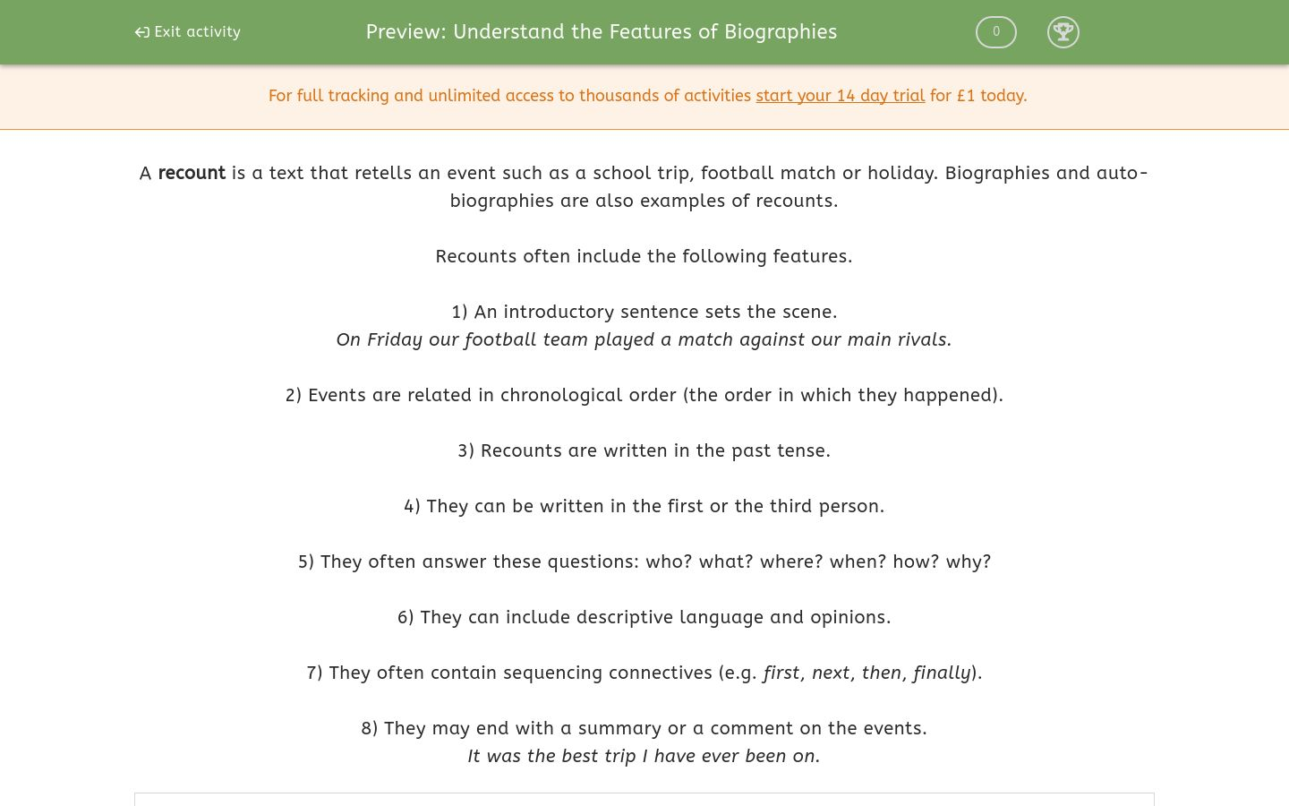'Understand the Features of Biographies' worksheet