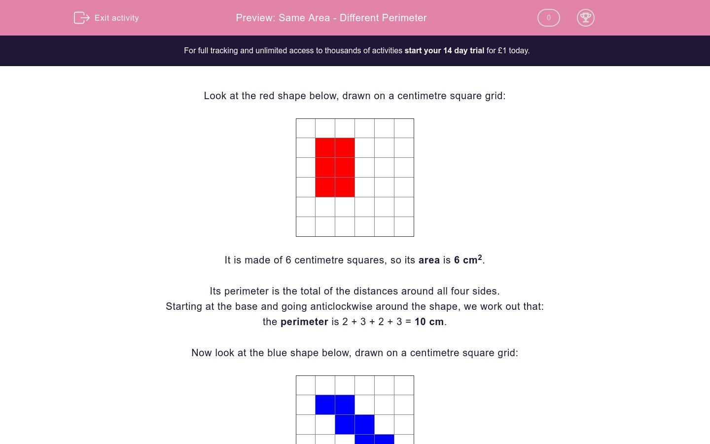 'Same Area - Different Perimeter' worksheet