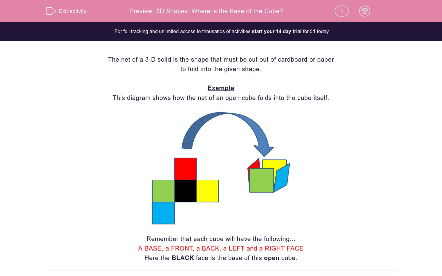 '3D Shapes: Where is the Base of the Cube?' worksheet