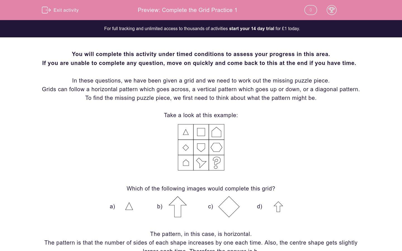 'Complete the Grid Practice 1' worksheet