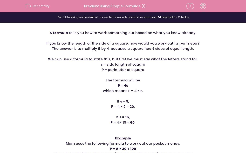 'Using Simple Formulae (1)' worksheet