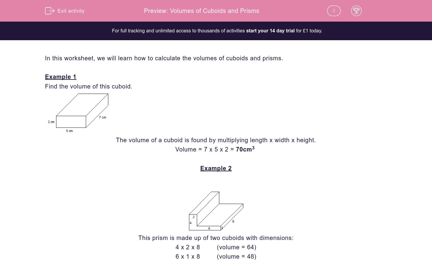 'Volumes of Cuboids and Prisms' worksheet