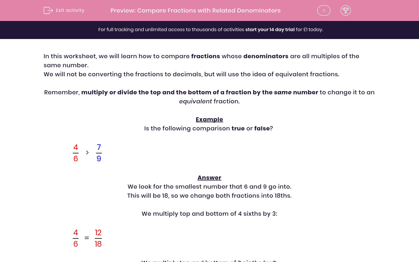 'Compare Fractions with Related Denominators' worksheet