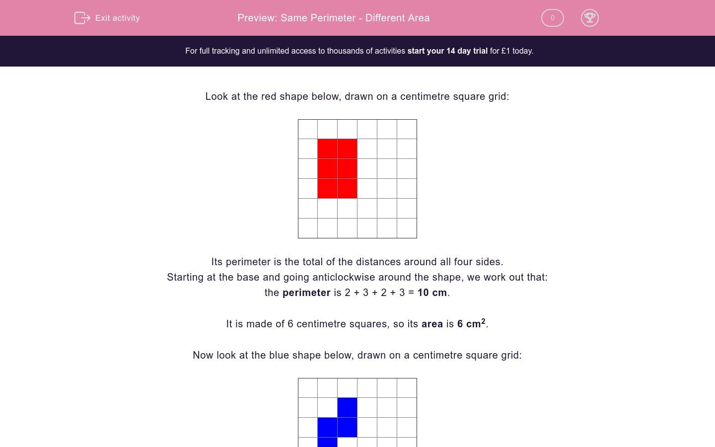'Same Perimeter - Different Area' worksheet