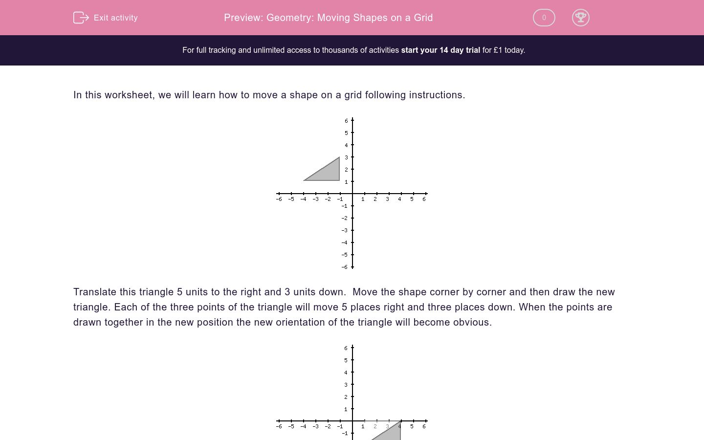 'Geometry: Moving Shapes on a Grid' worksheet