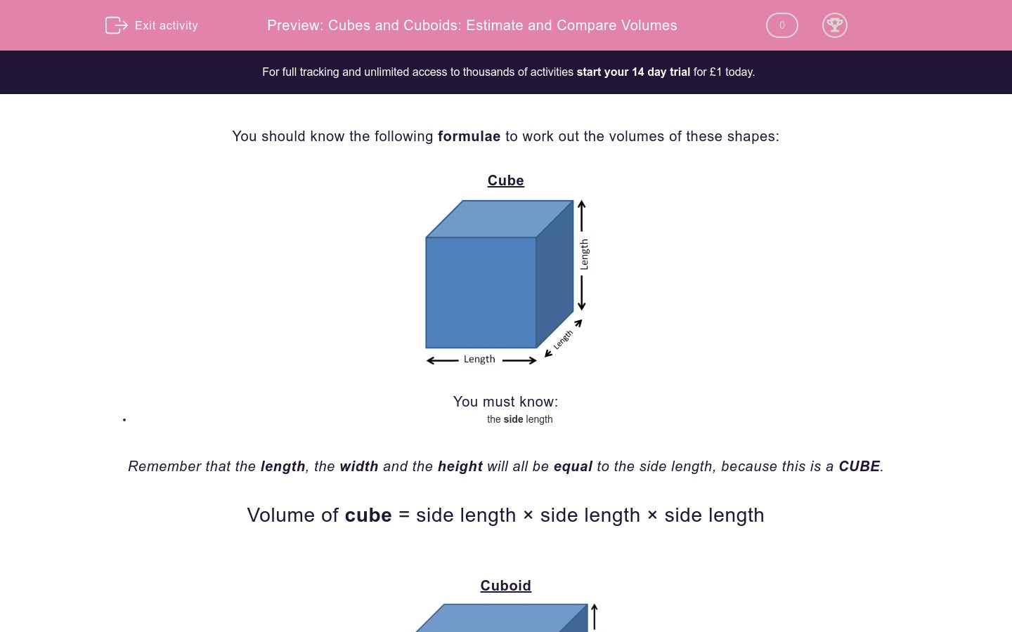 'Cubes and Cuboids: Estimate and Compare Volumes' worksheet