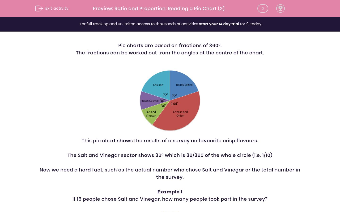 'Ratio and Proportion: Reading a Pie Chart (2)' worksheet