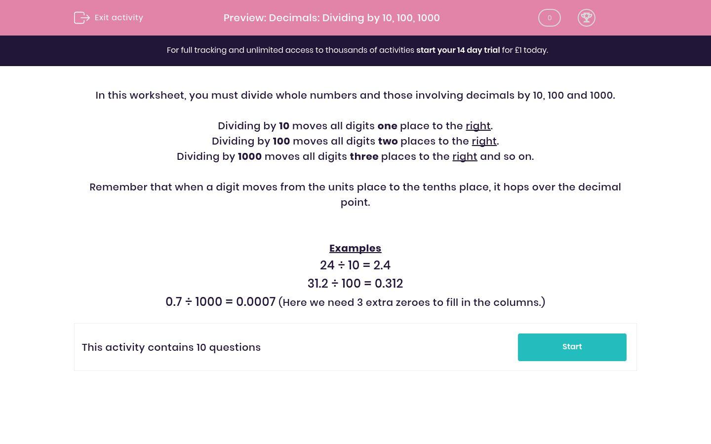 'Decimals: Dividing by 10, 100, 1000' worksheet