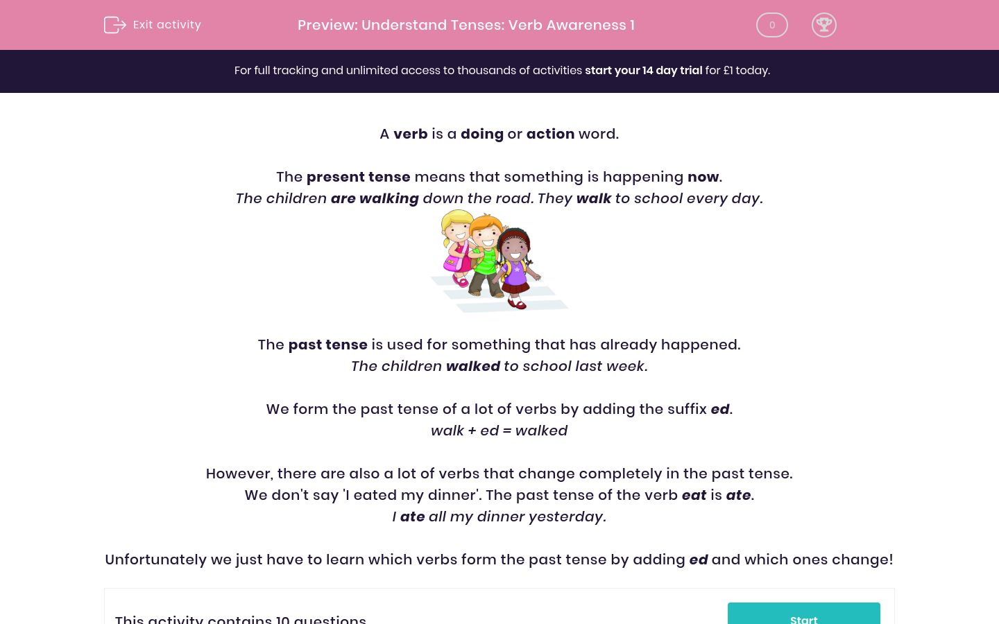 'Understand Tenses: Verb Awareness 1' worksheet