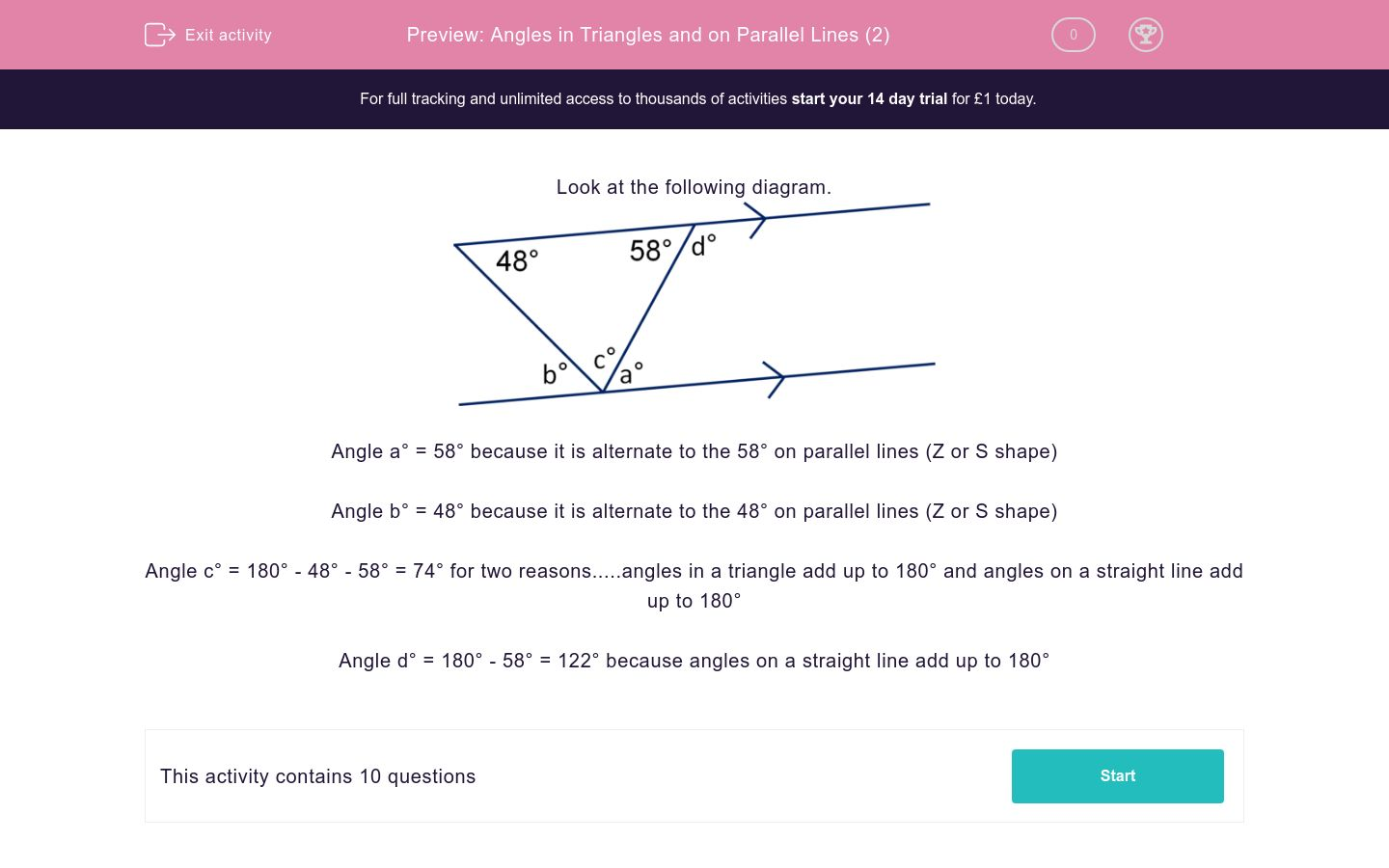 'Angles in Triangles and on Parallel Lines (2)' worksheet