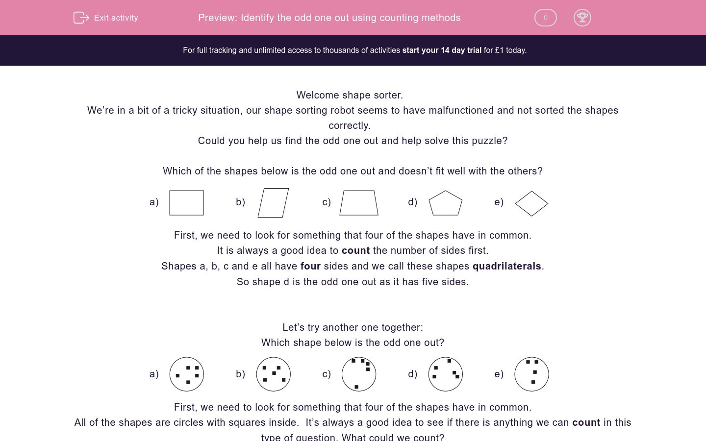 'Identify the odd one out using counting methods' worksheet