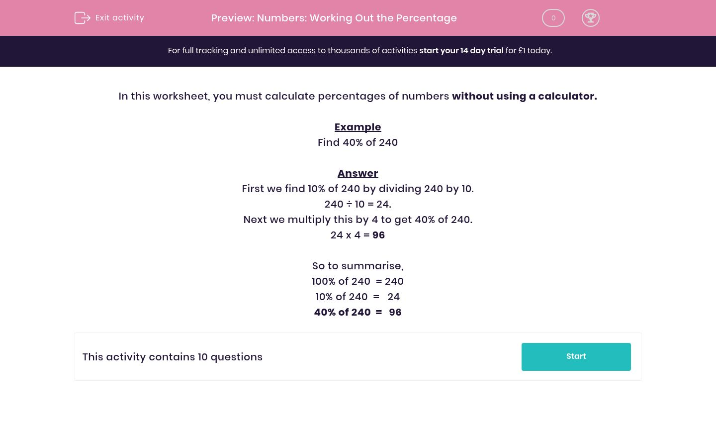 'Numbers: Working Out the Percentage' worksheet
