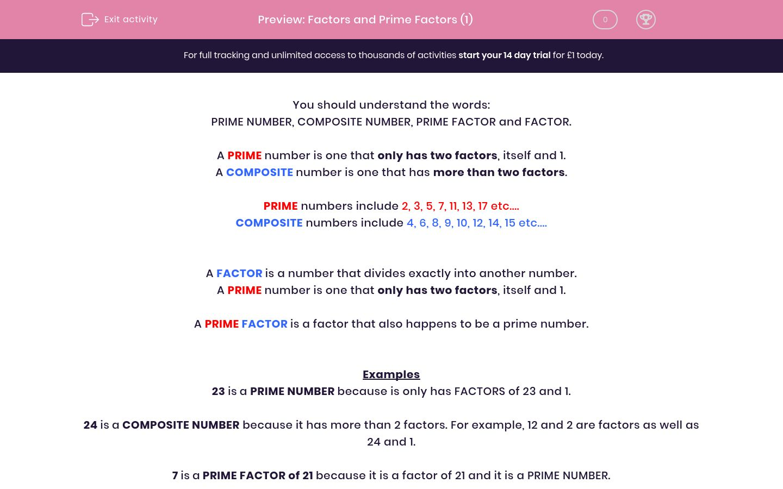 'Factors and Prime Factors (1)' worksheet