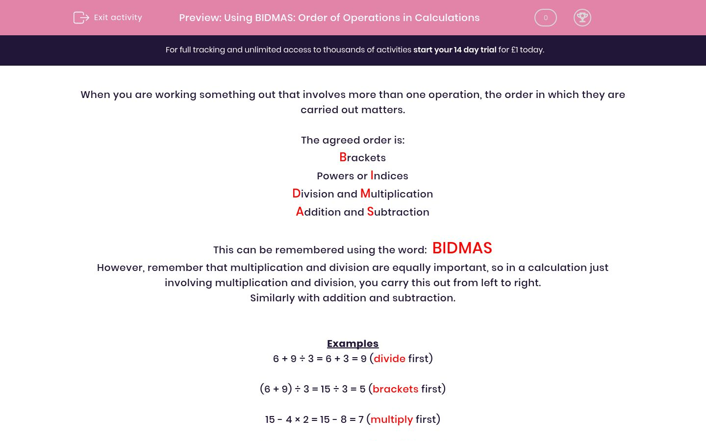 'Using BIDMAS: Order of Operations in Calculations' worksheet