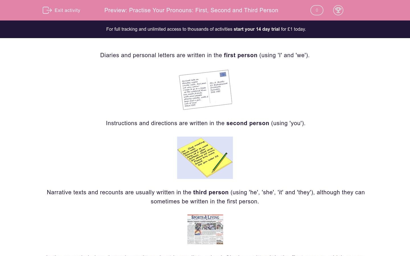 'Practise Your Pronouns: First, Second and Third Person' worksheet