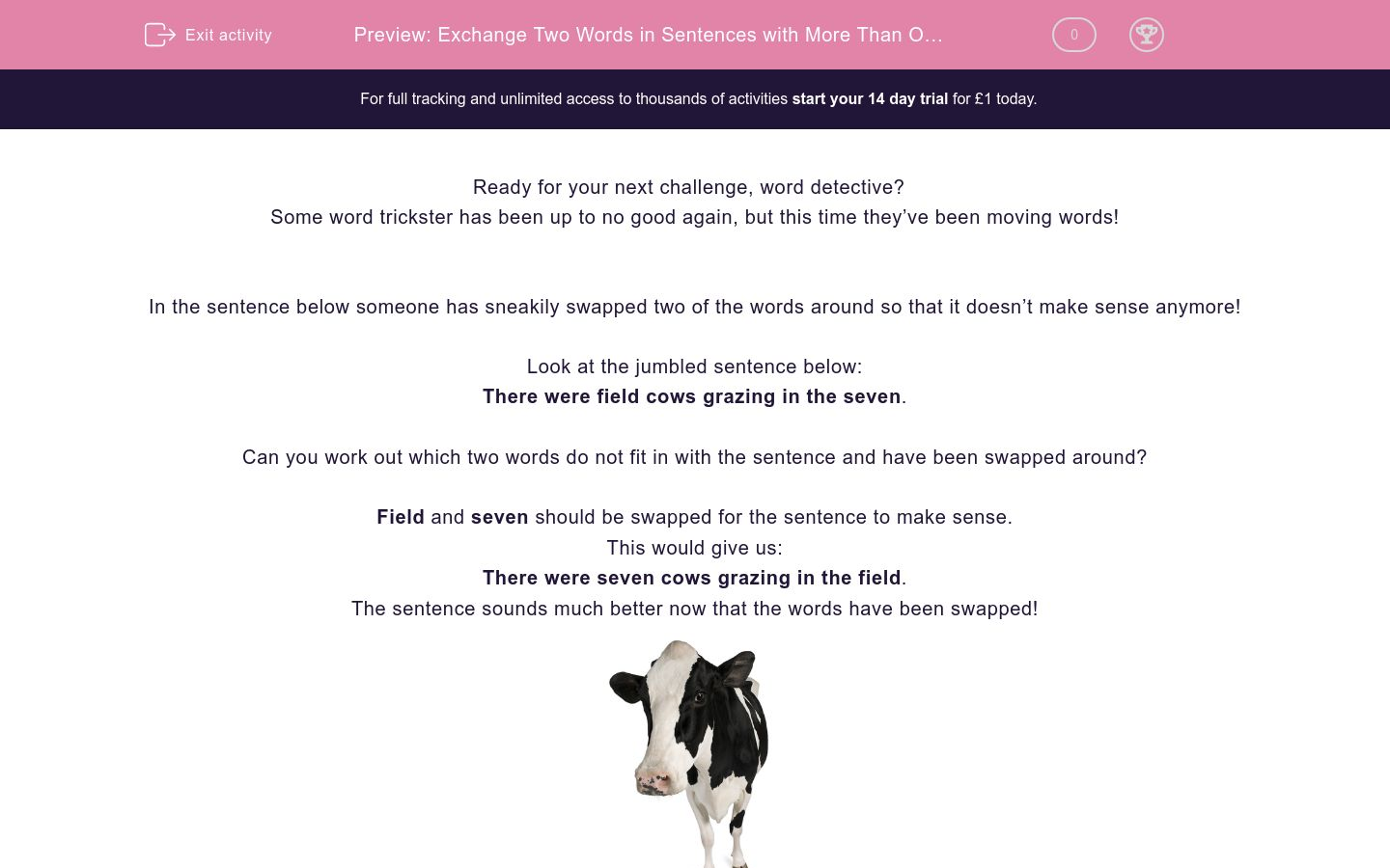 'Exchange Two Words in Sentences with More Than One Clause' worksheet