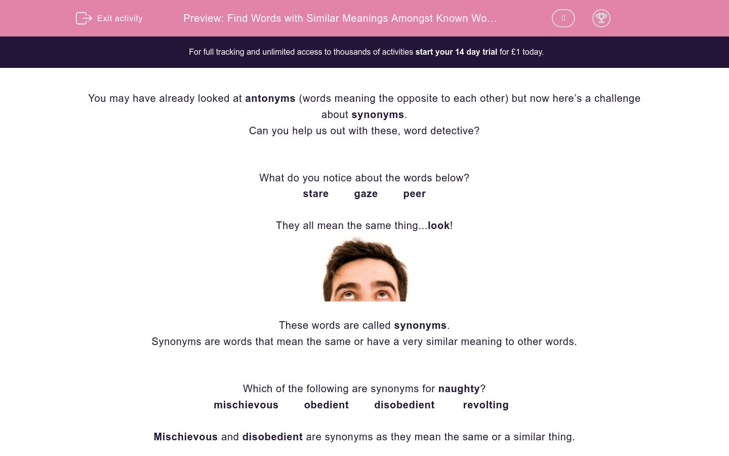 'Find Words with Similar Meanings Amongst Known Words' worksheet