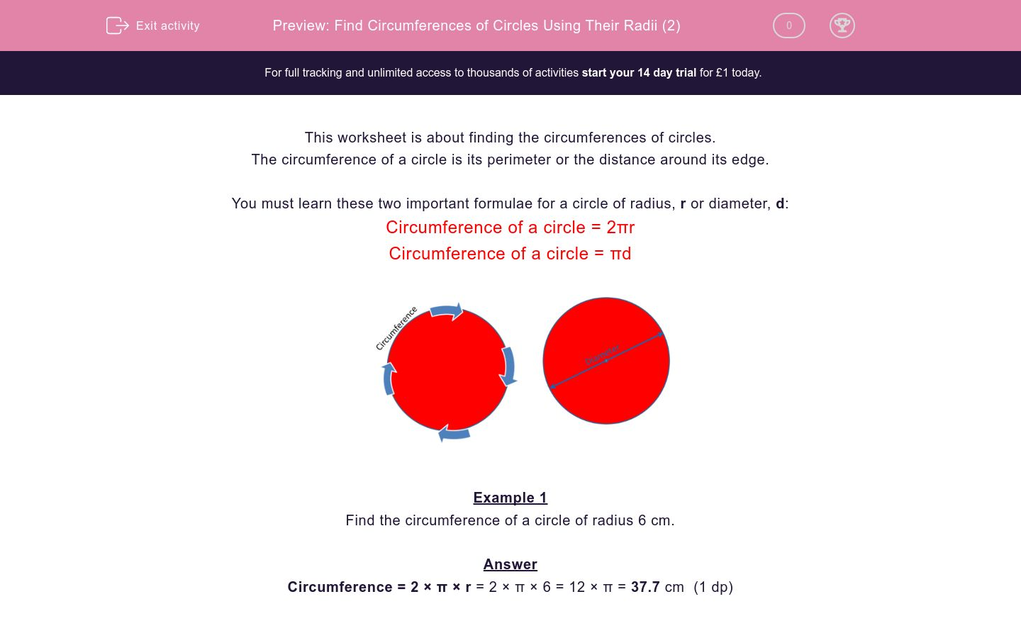 'Find Circumferences of Circles Using Their Radii (2)' worksheet