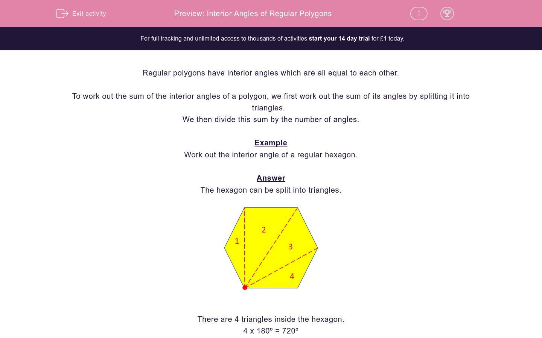 'Interior Angles of Regular Polygons' worksheet