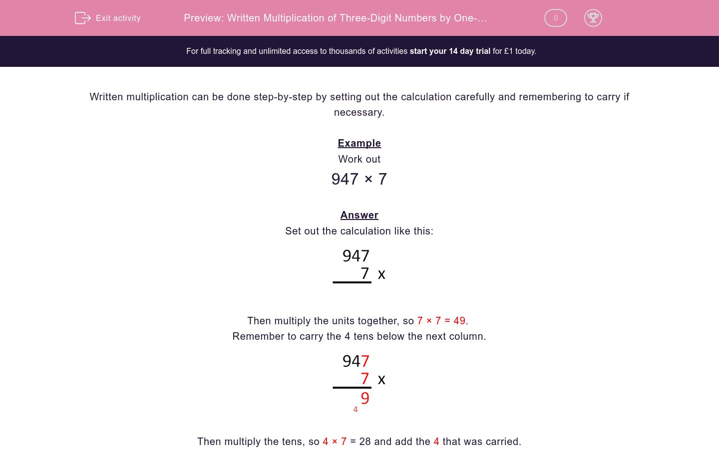 'Written Multiplication of Three-Digit Numbers by One-Digit' worksheet